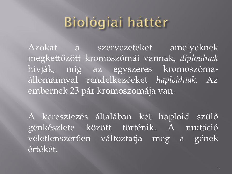 Azokat a szervezeteket amelyeknek megkettőzött kromoszómái vannak, diploidnak hívják, míg az egyszeres kromoszóma- állománnyal rendelkezőeket haploidn