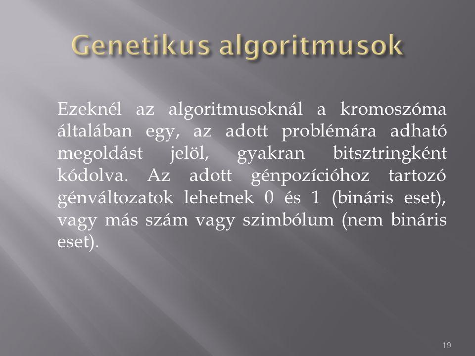 Ezeknél az algoritmusoknál a kromoszóma általában egy, az adott problémára adható megoldást jelöl, gyakran bitsztringként kódolva. Az adott génpozíció