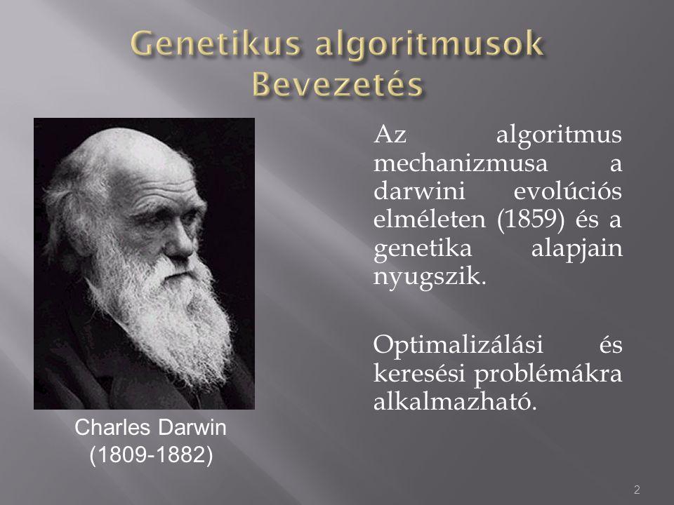 Az algoritmus mechanizmusa a darwini evolúciós elméleten (1859) és a genetika alapjain nyugszik. Optimalizálási és keresési problémákra alkalmazható.