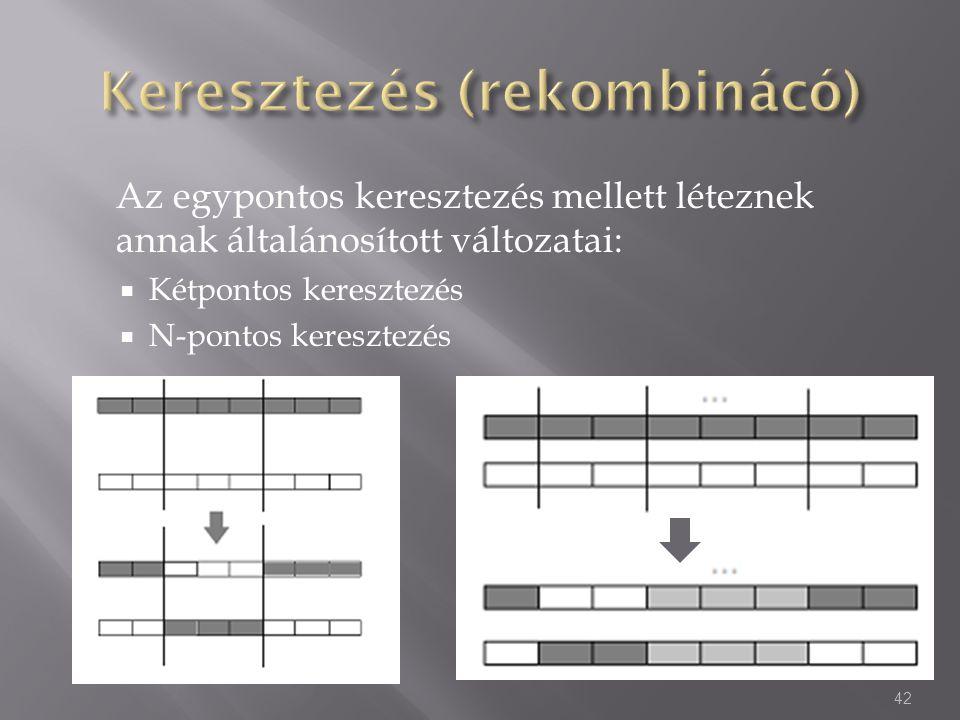 Az egypontos keresztezés mellett léteznek annak általánosított változatai:  Kétpontos keresztezés  N-pontos keresztezés 42