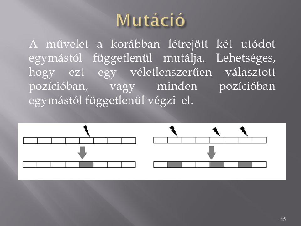 A művelet a korábban létrejött két utódot egymástól függetlenül mutálja. Lehetséges, hogy ezt egy véletlenszerűen választott pozícióban, vagy minden p