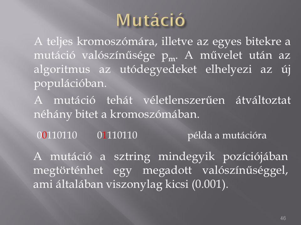 A teljes kromoszómára, illetve az egyes bitekre a mutáció valószínűsége p m. A művelet után az algoritmus az utódegyedeket elhelyezi az új populációba