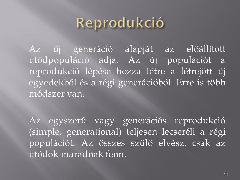 Az új generáció alapját az előállított utódpopuláció adja. Az új populációt a reprodukció lépése hozza létre a létrejött új egyedekből és a régi gener