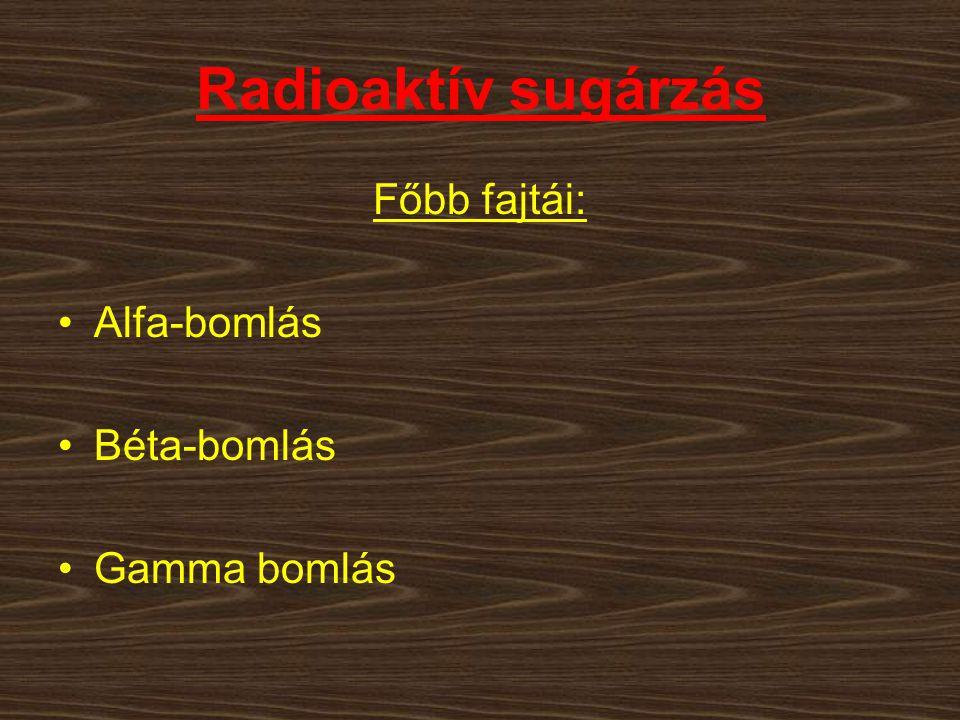 Radioaktív sugárzás Főbb fajtái: Alfa-bomlás Béta-bomlás Gamma bomlás
