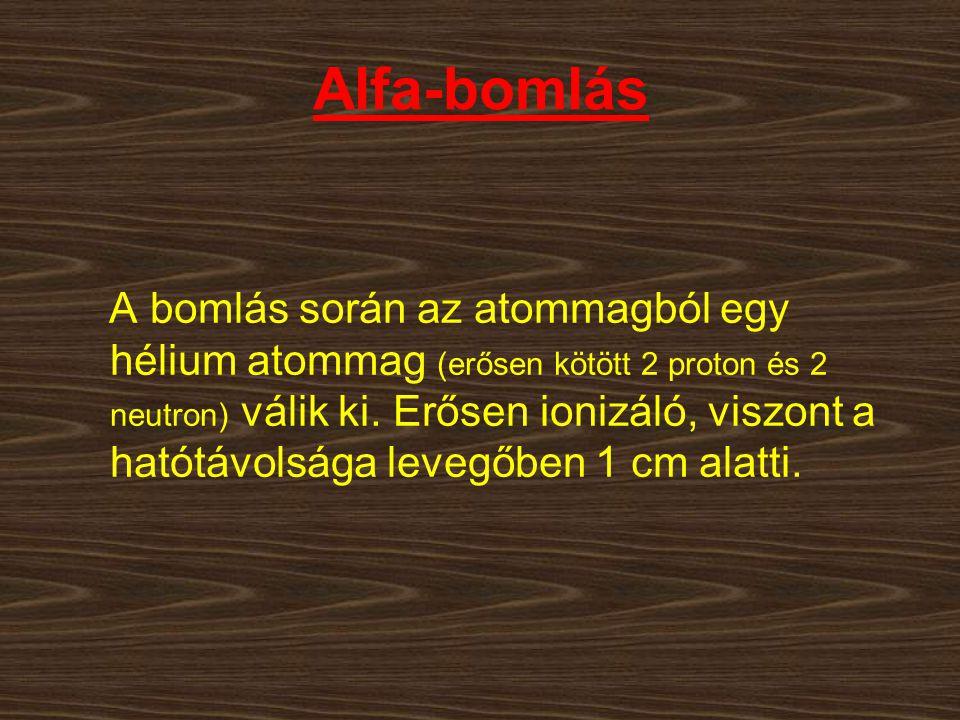 Alfa-bomlás A bomlás során az atommagból egy hélium atommag (erősen kötött 2 proton és 2 neutron) válik ki. Erősen ionizáló, viszont a hatótávolsága l