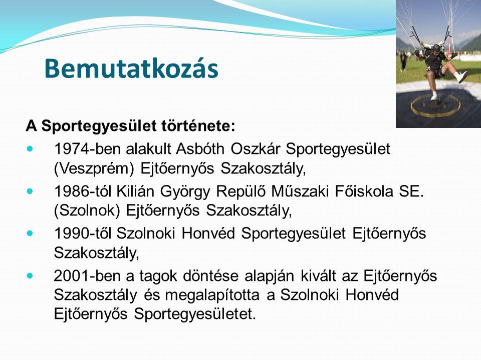 Bemutatkozás A Sportegyesület története: 1974-ben alakult Asbóth Oszkár Sportegyesület (Veszprém) Ejtőernyős Szakosztály, 1986-tól Kilián György Repülő Műszaki Főiskola SE.