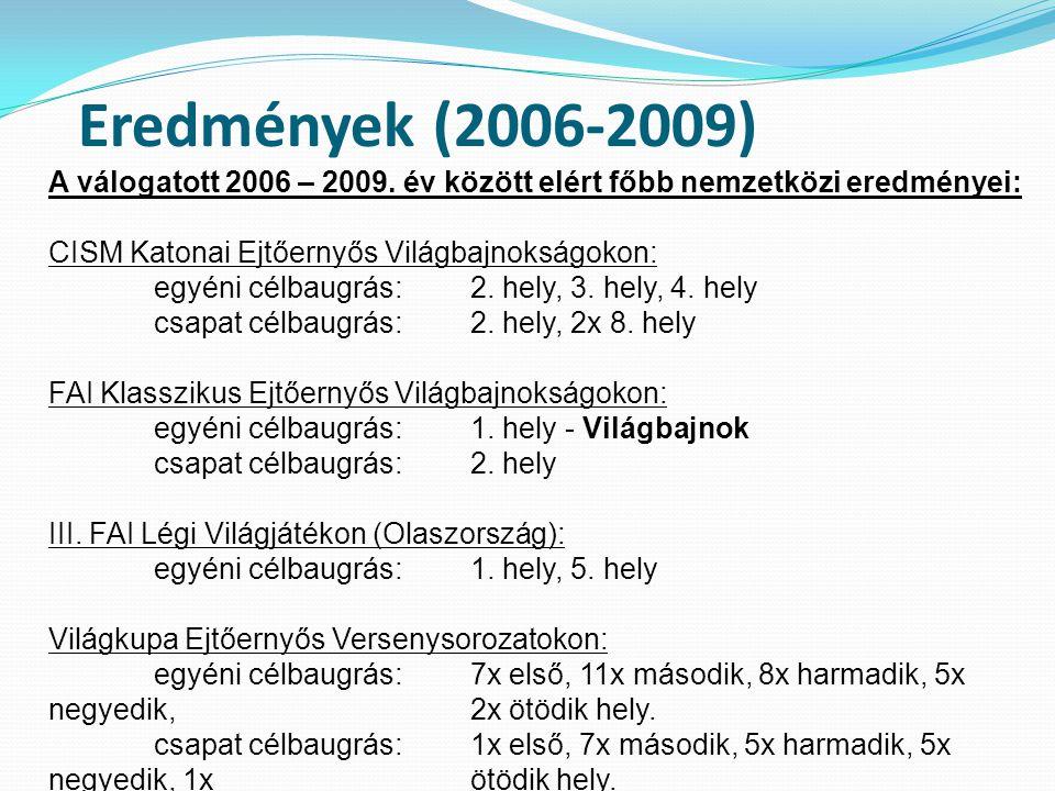 Eredmények (2006-2009) A válogatott 2006 – 2009.