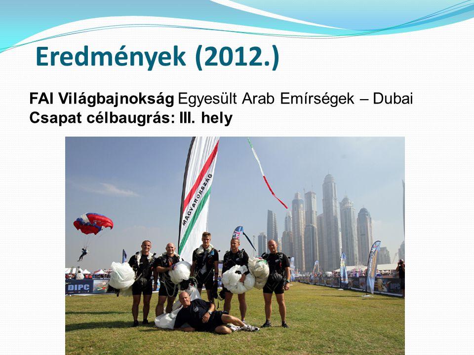 Eredmények (2012.) FAI Világbajnokság Egyesült Arab Emírségek – Dubai Csapat célbaugrás: III. hely