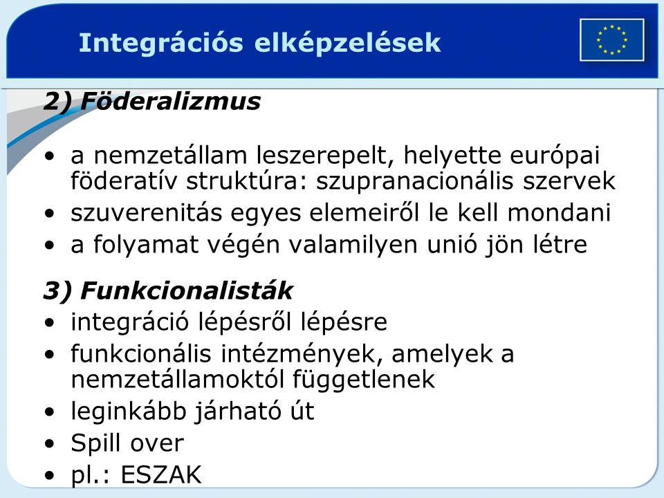2)Föderalizmus a nemzetállam leszerepelt, helyette európai föderatív struktúra: szupranacionális szervek szuverenitás egyes elemeiről le kell mondani