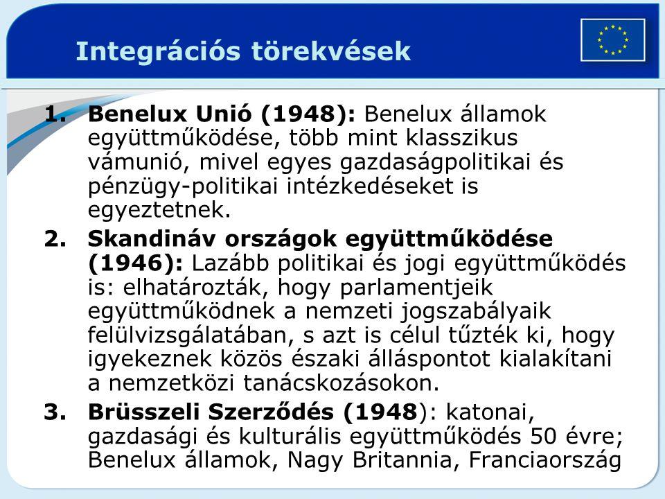 Integrációs törekvések 1.Benelux Unió (1948): Benelux államok együttműködése, több mint klasszikus vámunió, mivel egyes gazdaságpolitikai és pénzügy-p
