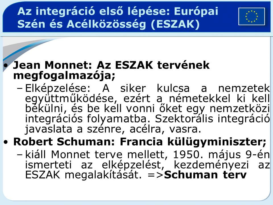 Az integráció első lépése: Európai Szén és Acélközösség (ESZAK) Jean Monnet: Az ESZAK tervének megfogalmazója; –Elképzelése: A siker kulcsa a nemzetek