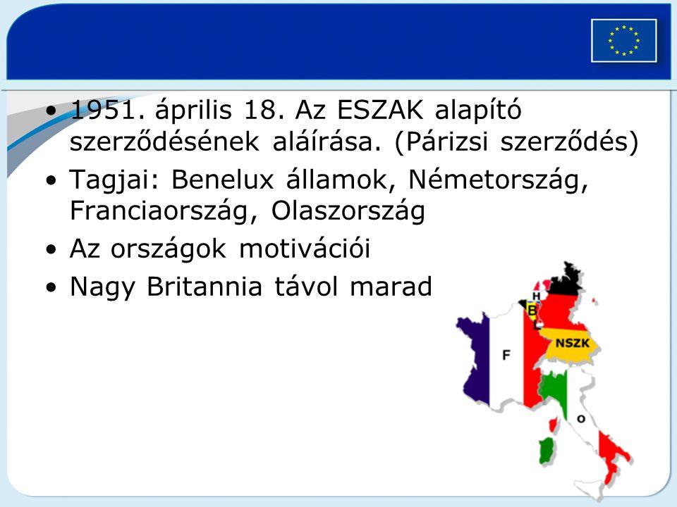 1951. április 18. Az ESZAK alapító szerződésének aláírása. (Párizsi szerződés) Tagjai: Benelux államok, Németország, Franciaország, Olaszország Az ors