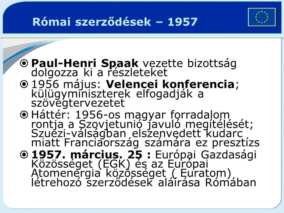 Római szerződések – 1957  Paul-Henri Spaak vezette bizottság dolgozza ki a részleteket  1956 május: Velencei konferencia; külügyminiszterek elfogadj