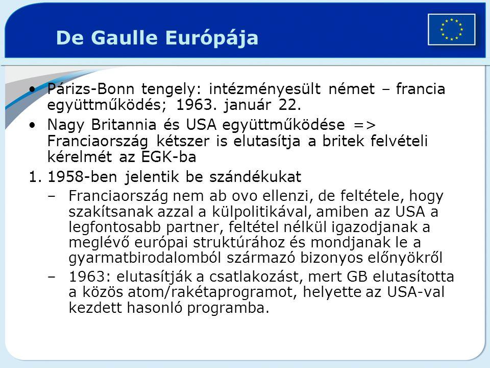 De Gaulle Európája Párizs-Bonn tengely: intézményesült német – francia együttműködés; 1963. január 22. Nagy Britannia és USA együttműködése => Francia