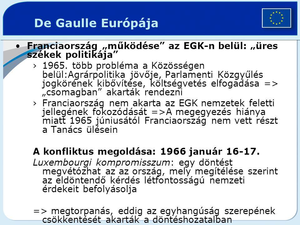 """Franciaország """"működése"""" az EGK-n belül: """"üres székek politikája"""" ›1965. több probléma a Közösségen belül:Agrárpolitika jövője, Parlamenti Közgyűlés j"""