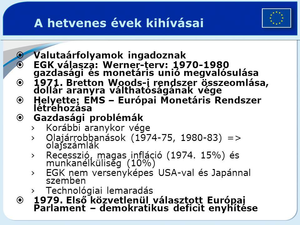 A hetvenes évek kihívásai  Valutaárfolyamok ingadoznak  EGK válasza: Werner-terv: 1970-1980 gazdasági és monetáris unió megvalósulása  1971. Bretto