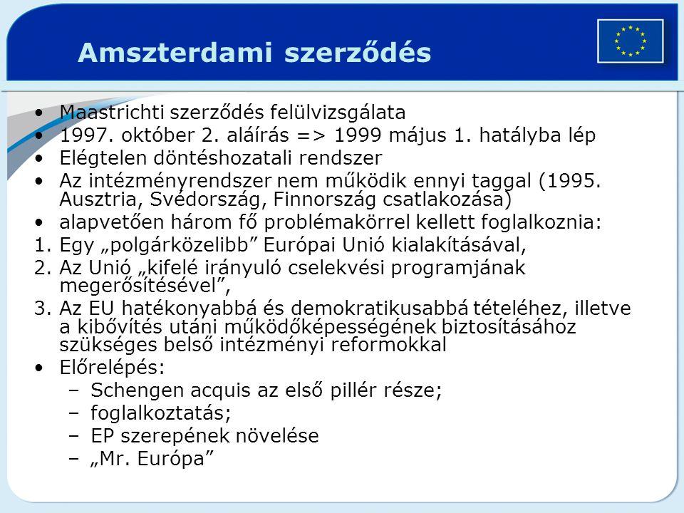 Amszterdami szerződés Maastrichti szerződés felülvizsgálata 1997. október 2. aláírás => 1999 május 1. hatályba lép Elégtelen döntéshozatali rendszer A