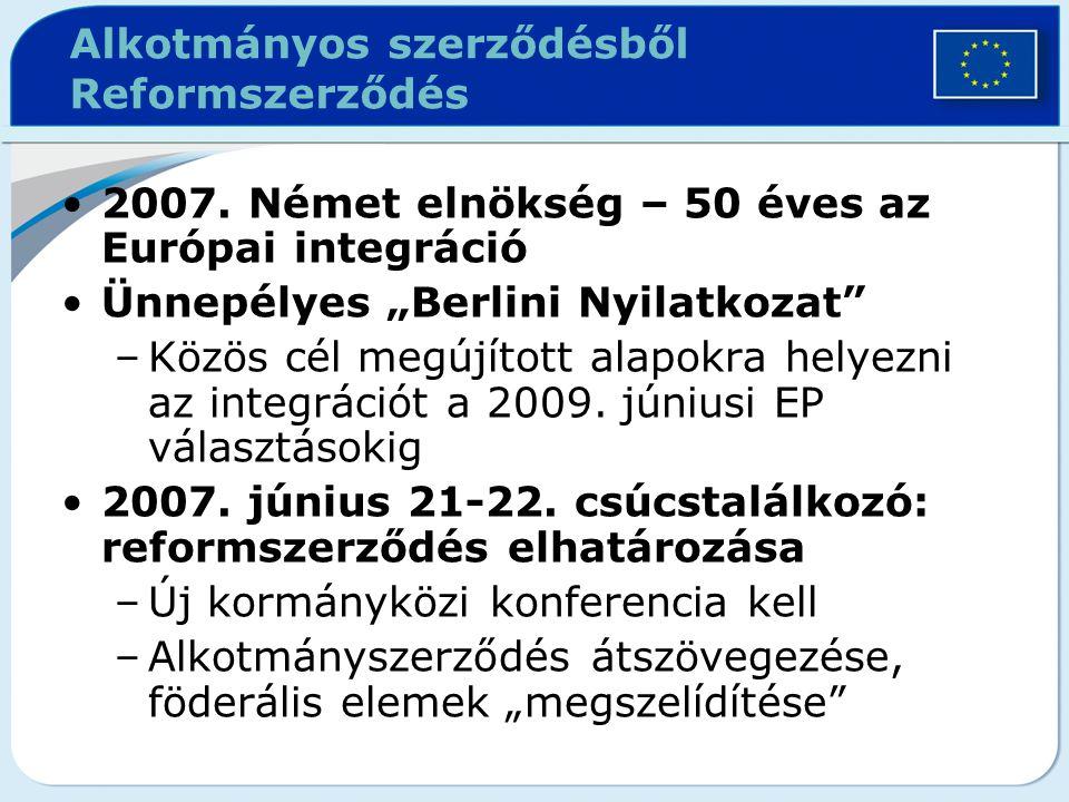 """Alkotmányos szerződésből Reformszerződés 2007. Német elnökség – 50 éves az Európai integráció Ünnepélyes """"Berlini Nyilatkozat"""" –Közös cél megújított a"""