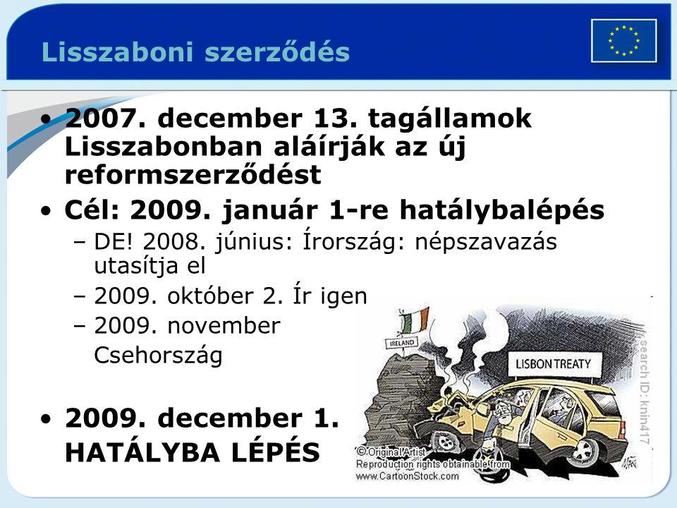 Lisszaboni szerződés 2007. december 13. tagállamok Lisszabonban aláírják az új reformszerződést Cél: 2009. január 1-re hatálybalépés –DE! 2008. június