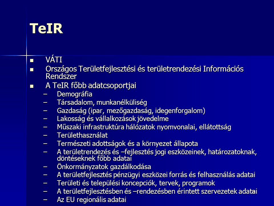 15TeIR VÁTI VÁTI Országos Területfejlesztési és területrendezési Információs Rendszer Országos Területfejlesztési és területrendezési Információs Rend