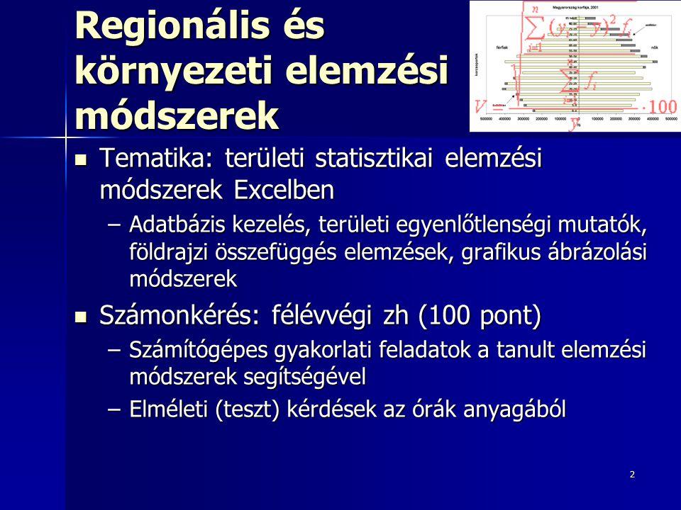 2 Regionális és környezeti elemzési módszerek Tematika: területi statisztikai elemzési módszerek Excelben Tematika: területi statisztikai elemzési mód