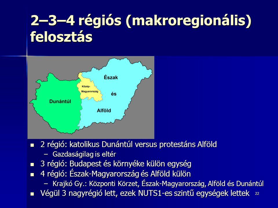 22 2–3–4 régiós (makroregionális) felosztás 2 régió: katolikus Dunántúl versus protestáns Alföld 2 régió: katolikus Dunántúl versus protestáns Alföld