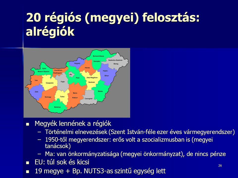 26 20 régiós (megyei) felosztás: alrégiók Megyék lennének a régiók Megyék lennének a régiók –Történelmi elnevezések (Szent István-féle ezer éves várme
