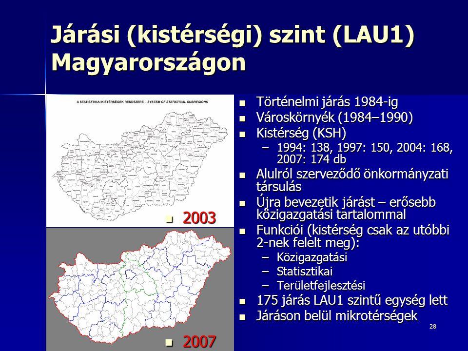 28 Járási (kistérségi) szint (LAU1) Magyarországon Történelmi járás 1984-ig Történelmi járás 1984-ig Városkörnyék (1984–1990) Városkörnyék (1984–1990)