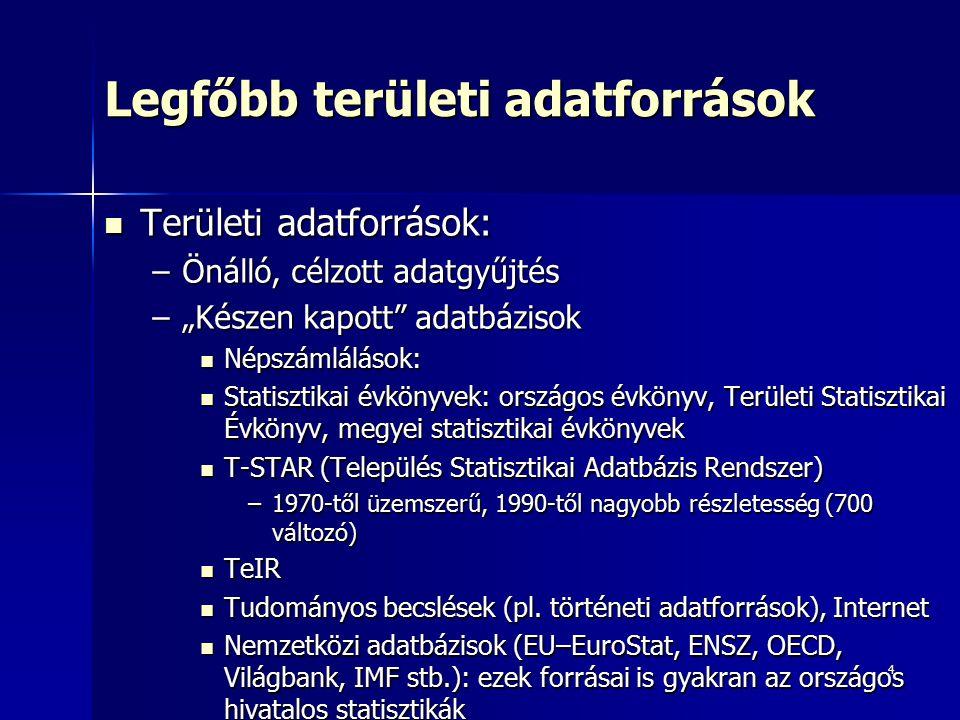 """4 Legfőbb területi adatforrások Területi adatforrások: Területi adatforrások: –Önálló, célzott adatgyűjtés –""""Készen kapott"""" adatbázisok Népszámlálások"""