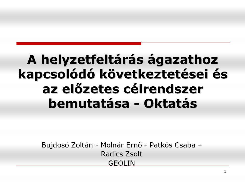 A helyzetfeltárás ágazathoz kapcsolódó következtetései és az előzetes célrendszer bemutatása - Oktatás Bujdosó Zoltán - Molnár Ernő - Patkós Csaba – R