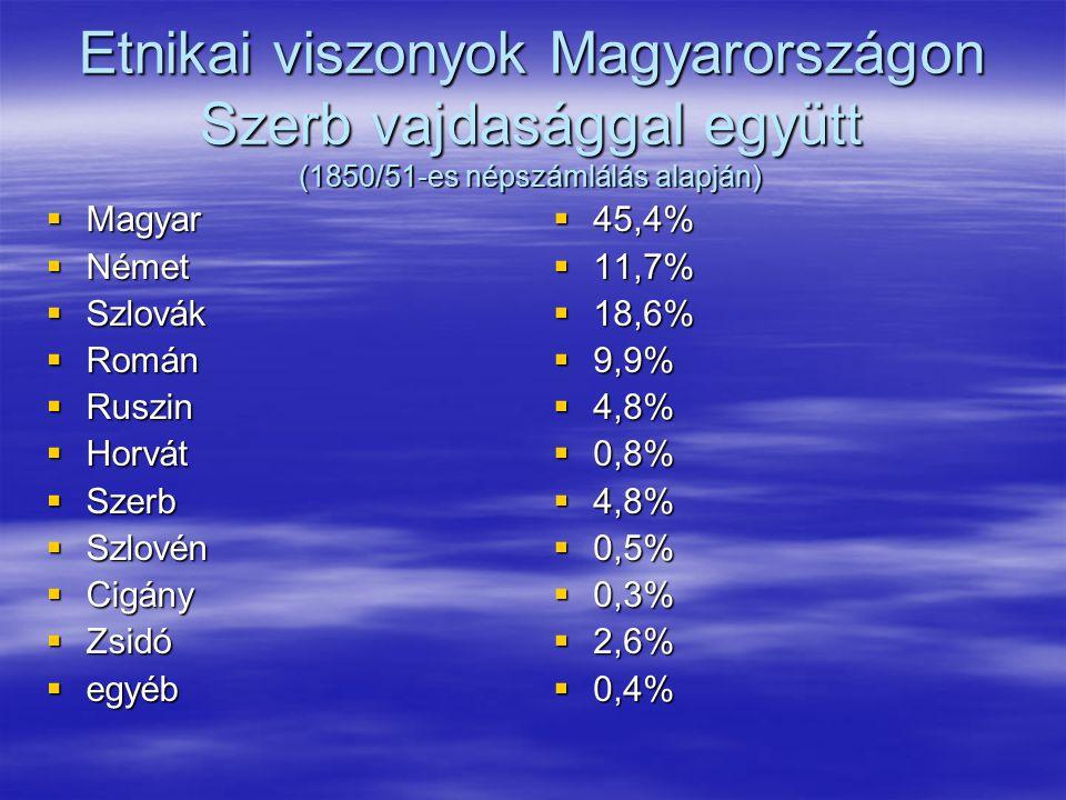 Etnikai viszonyok Magyarországon Szerb vajdasággal együtt (1850/51-es népszámlálás alapján)  Magyar  Német  Szlovák  Román  Ruszin  Horvát  Szerb  Szlovén  Cigány  Zsidó  egyéb  45,4%  11,7%  18,6%  9,9%  4,8%  0,8%  4,8%  0,5%  0,3%  2,6%  0,4%