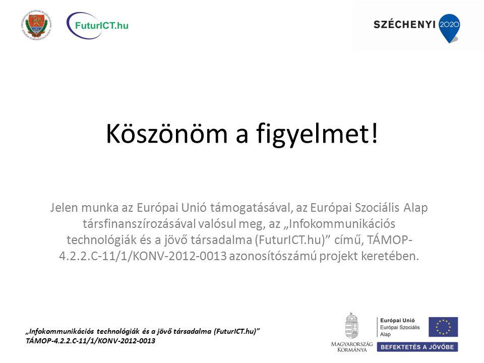 """Köszönöm a figyelmet! Jelen munka az Európai Unió támogatásával, az Európai Szociális Alap társfinanszírozásával valósul meg, az """"Infokommunikációs te"""