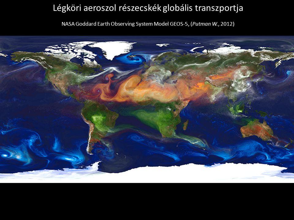 Klímamodellek fejlesztése és alkalmazása Légköri aeroszol részecskék globális transzportja NASA Goddard Earth Observing System Model GEOS-5, (Putman W., 2012)