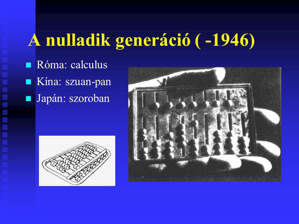 Az első generáció (1946-1954) Elektroncső beépítése (1906-os találmány) Gyorsabb számítógép ENIAC (18 ezer elektroncső, 30 tonna)