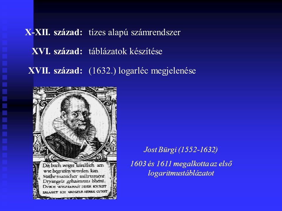 X-XII.század:tízes alapú számrendszer XVI. század:táblázatok készítése XVII.