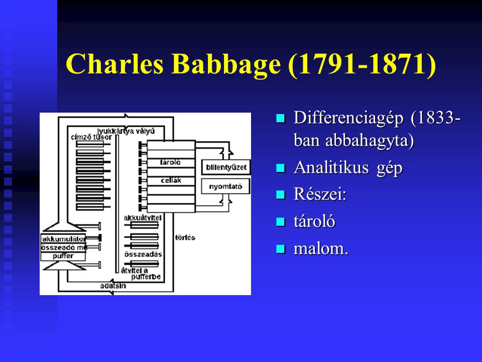Charles Babbage (1791-1871) Differenciagép (1833- ban abbahagyta) Analitikus gép Részei: tároló malom.
