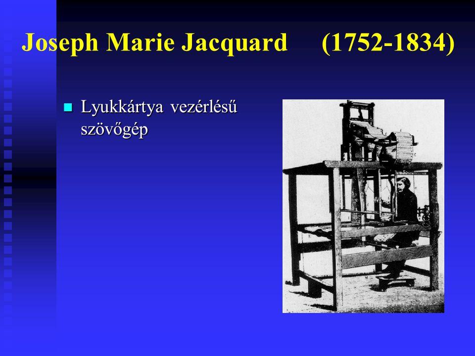 Lyukkártya vezérlésű szövőgép Lyukkártya vezérlésű szövőgép Joseph Marie Jacquard (1752-1834)