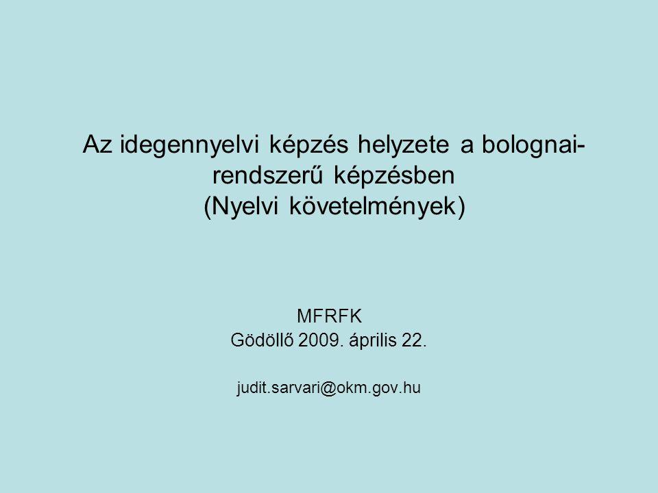 Az idegennyelvi képzés helyzete a bolognai- rendszerű képzésben (Nyelvi követelmények) MFRFK Gödöllő 2009. április 22. judit.sarvari@okm.gov.hu