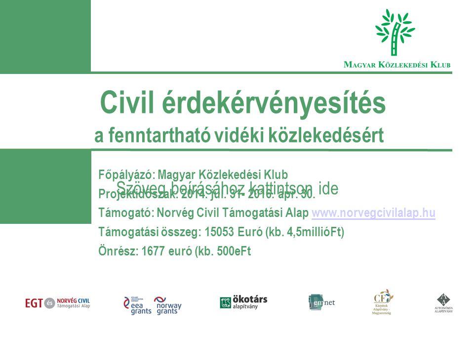 Szöveg beírásához kattintson ide Civil érdekérvényesítés a fenntartható vidéki közlekedésért Főpályázó: Magyar Közlekedési Klub Projektidőszak: 2014.