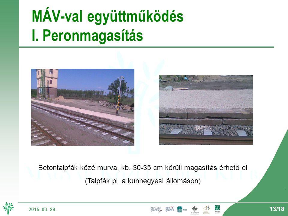 13/18 2015. 03. 29. MÁV-val együttműködés I. Peronmagasítás Betontalpfák közé murva, kb.