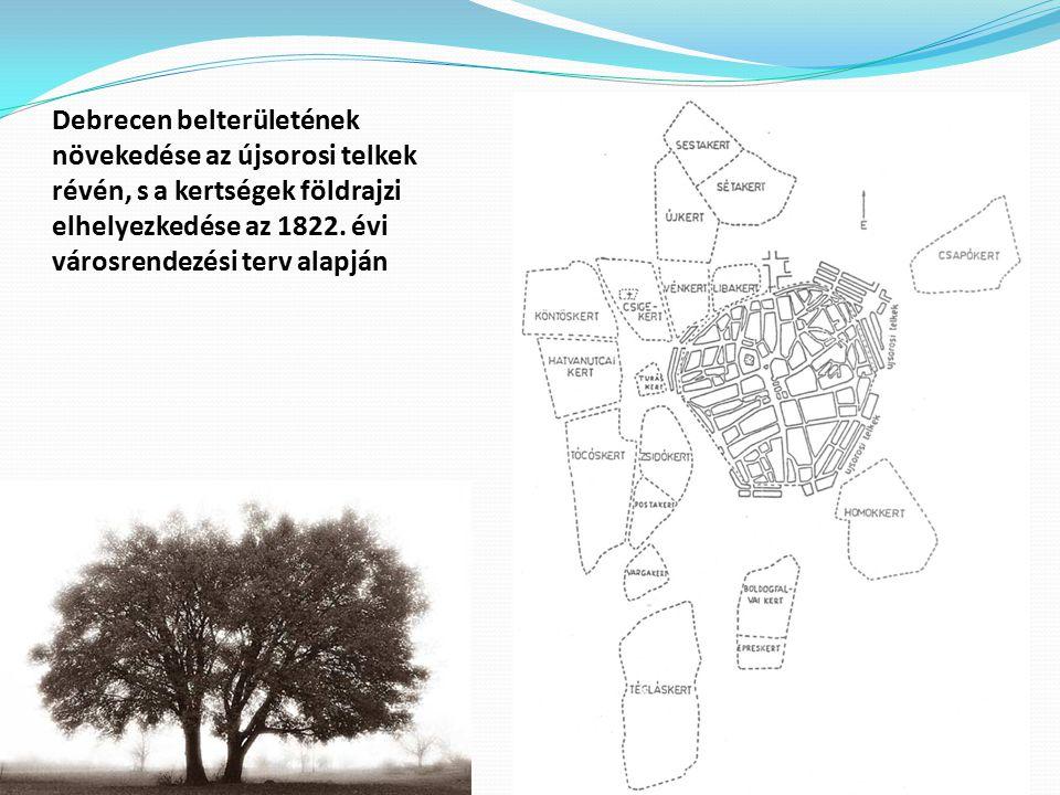 Debrecen belterületének növekedése az újsorosi telkek révén, s a kertségek földrajzi elhelyezkedése az 1822. évi városrendezési terv alapján