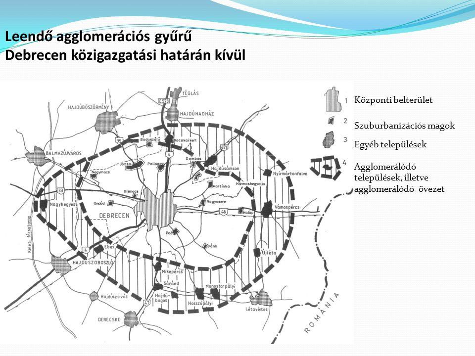 Leendő agglomerációs gyűrű Debrecen közigazgatási határán kívül Központi belterület Szuburbanizációs magok Egyéb települések Agglomerálódó települések