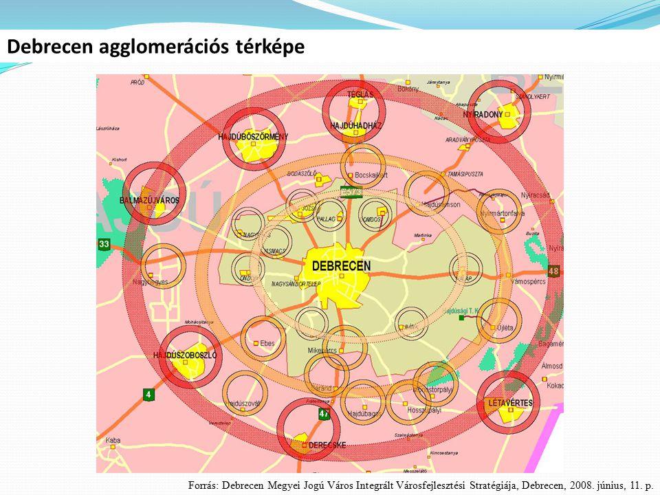 Debrecen agglomerációs térképe Forrás: Debrecen Megyei Jogú Város Integrált Városfejlesztési Stratégiája, Debrecen, 2008. június, 11. p.