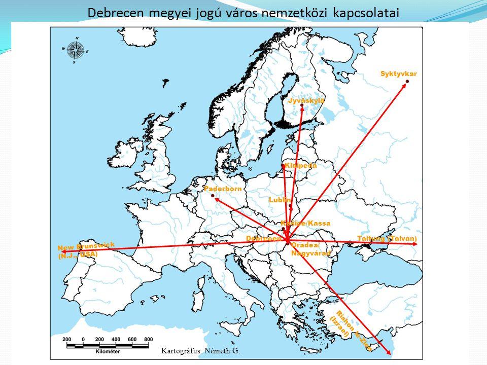 Debrecen megyei jogú város nemzetközi kapcsolatai Paderborn Jyväskylä Syktyvkar Lublin Košice/Kassa Debrecen Oradea/ Nagyvárad Klaipeda New Brunswick