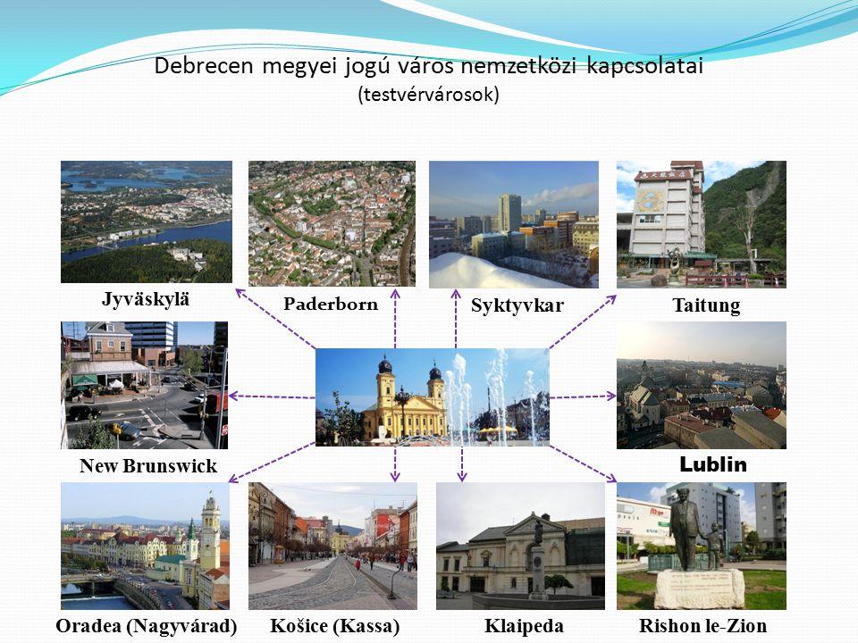 Debrecen megyei jogú város nemzetközi kapcsolatai (testvérvárosok) Paderborn Syktyvkar Lublin Košice (Kassa)Oradea (Nagyvárad)Klaipeda New Brunswick T