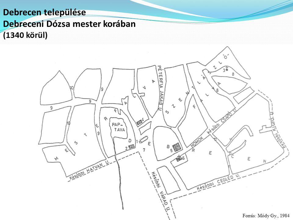 Debrecen települése Debreceni Dózsa mester korában (1340 körül) Forrás: Módy Gy., 1984