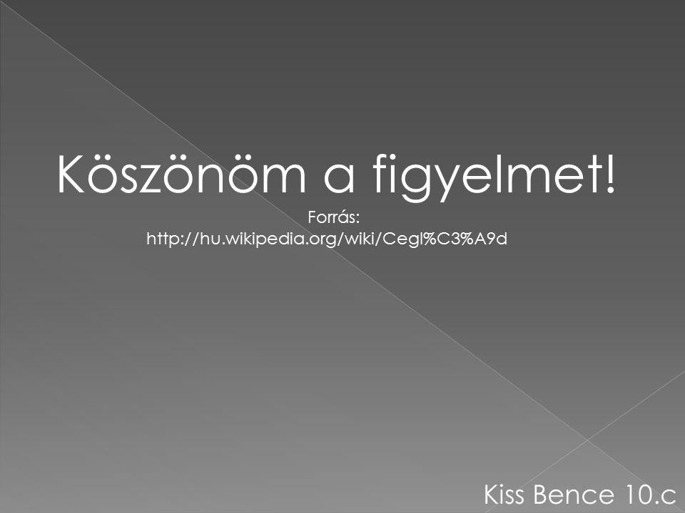 Köszönöm a figyelmet! Forrás: http://hu.wikipedia.org/wiki/Cegl%C3%A9d Kiss Bence 10.c