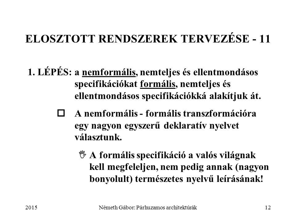 2015Németh Gábor: Párhuzamos architektúrák12 ELOSZTOTT RENDSZEREK TERVEZÉSE - 11 1. LÉPÉS:a nemformális, nemteljes és ellentmondásos specifikációkat f