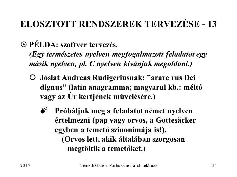 2015Németh Gábor: Párhuzamos architektúrák14 ELOSZTOTT RENDSZEREK TERVEZÉSE - 13  PÉLDA: szoftver tervezés.