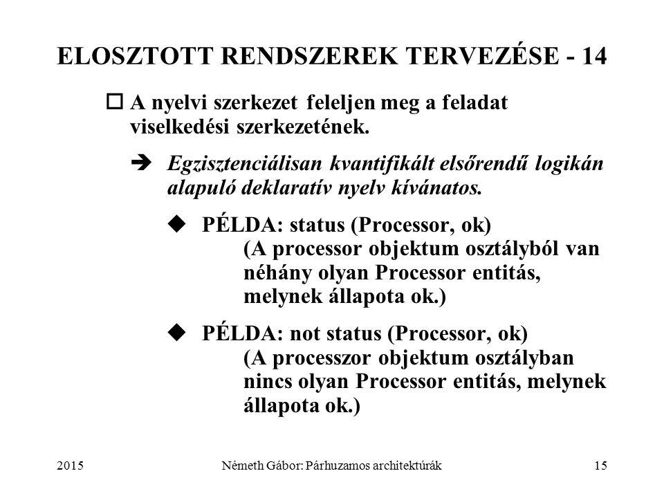2015Németh Gábor: Párhuzamos architektúrák15 ELOSZTOTT RENDSZEREK TERVEZÉSE - 14  A nyelvi szerkezet feleljen meg a feladat viselkedési szerkezetének